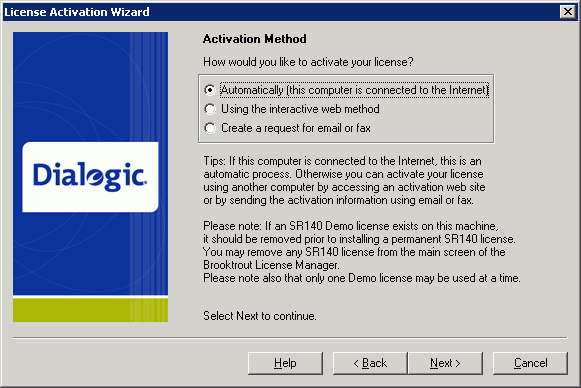 License Activation Wizard: Activation Method - How would you like to activate your license?